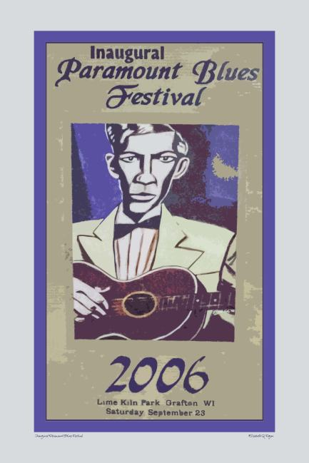 Inaugural Paramount Blues Festival, 20x30, by Elizabeth G Fagan, digital art on lakemichigansleftcoast.com, from Lake Michigan's Left Coast